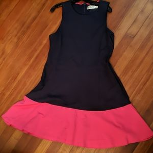 Eliza J Fit and Flare Pink and Navy Dress